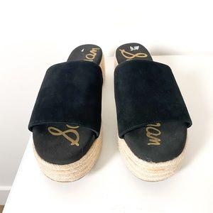 Sam Edelman Black Espadrilles Platform Slider Slip On Sandals
